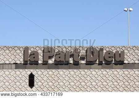 Lyon France - July 28, 2015: View Of La Part-dieu Building. La Part-dieu Mall Is A Major Shopping Ce