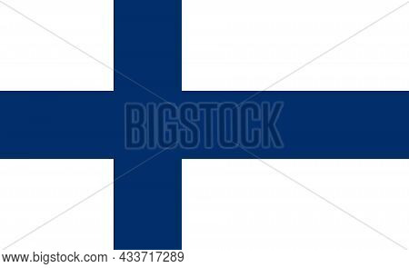 National Flag Of Finland Original Size And Colors Vector Illustration, Suomen Lippu Or Finlands Flag