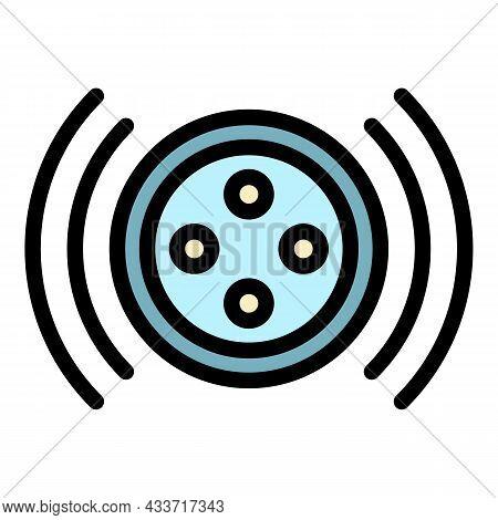Loud Smart Speaker On Top Icon. Outline Loud Smart Speaker On Top Vector Icon Color Flat Isolated