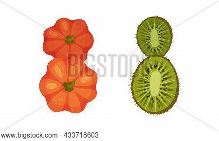 Number 8 Eight Made Of Fresh Pumpkin And Kiwi Cartoon Vector Illustration