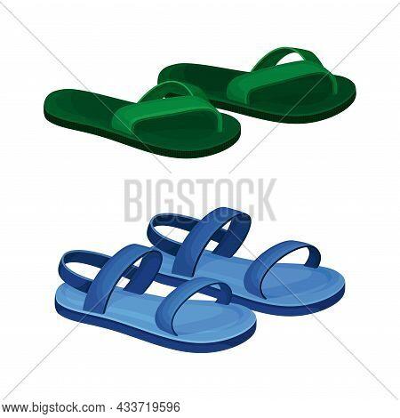 Fashionable Shoes Set. Sandals And Flip Flop Footwear Cartoon Vector Illustration