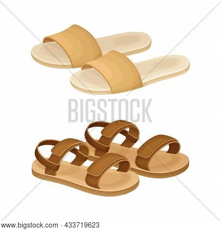 Fashionable Shoes Set. Sandals And Flip Flops Footwear Cartoon Vector Illustration