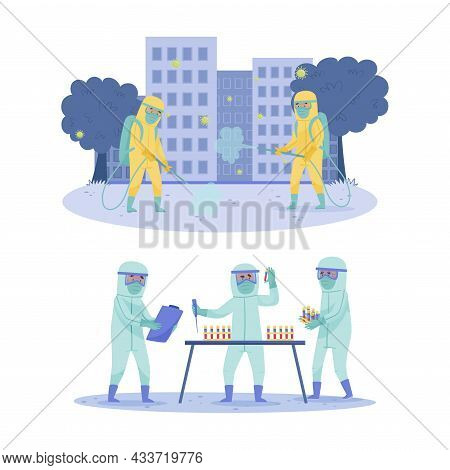 Disinfectant Workers Wearing Safety Protection Suit Disinfecting Street. Scientist Doctors Analysing