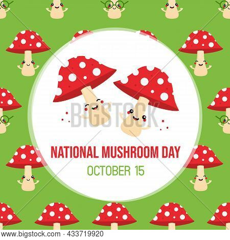 National Mushroom Day Greeting Card, Illustration With Couple Of Red Cute Mushroom Characters And Ve