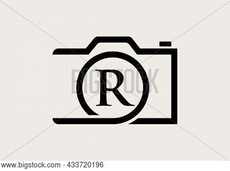 Photography Logo Design On Letter R. Letter R Photography Logo Design. Camera Logo Design Inspiratio