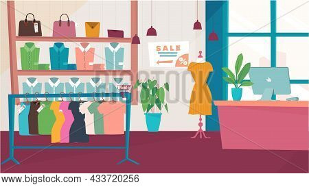 Clothing Store Interior Concept In Flat Cartoon Design. Shop With Assortment Of Dresses On Hangers,