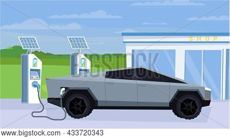Electric Car At Refueling Station Concept In Flat Cartoon Design. Station Exterior With Solar Panels