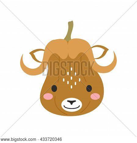 Happy Halloween Cute Cartoon Pumpkin With Musk Ox Face. Halloween Party Decor For Children. Childish