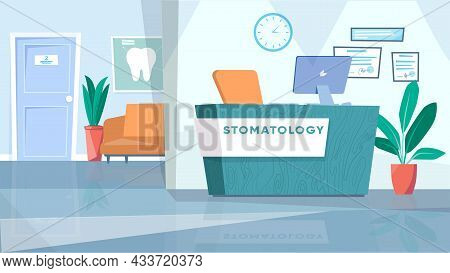 Dentistry Waiting Room Interior Concept In Flat Cartoon Design. Lobby With Reception Desk, Workplace