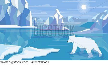 Antarctic Landscape Concept In Flat Cartoon Design. Polar Bear In Cold Water, Huge Ice Blocks, Icebe