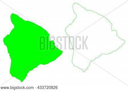 Hawaii Island (united States Of America, North America, Us, Usa, Hawaiian Islands) Map Vector Illust