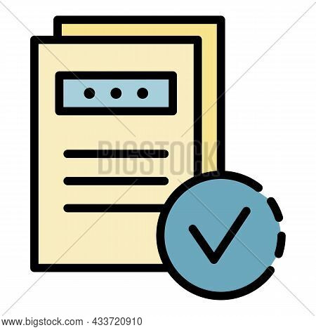 Marked Documents Icon. Outline Marked Documents Vector Icon Color Flat Isolated