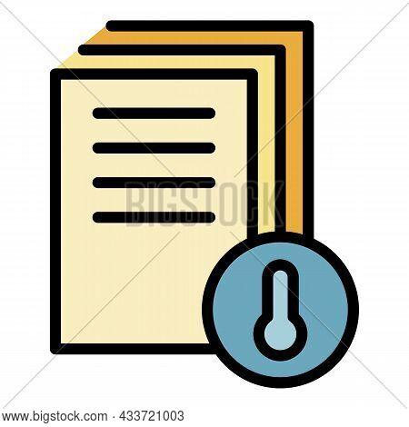 Archive Temperature Icon. Outline Archive Temperature Vector Icon Color Flat Isolated