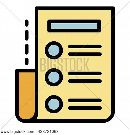 Archive List Icon. Outline Arhive List Vector Icon Color Flat Isolated