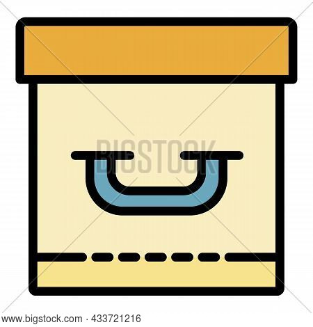 Closed Archive Box Icon. Outline Closed Archive Box Vector Icon Color Flat Isolated