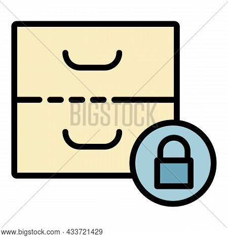 Closed Archive Icon. Outline Closed Archive Vector Icon Color Flat Isolated