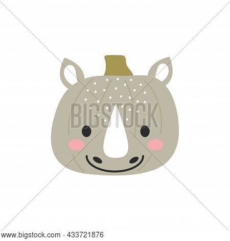 Happy Halloween Cute Cartoon Pumpkin With Rhino Face. Halloween Party Decor For Children. Childish P