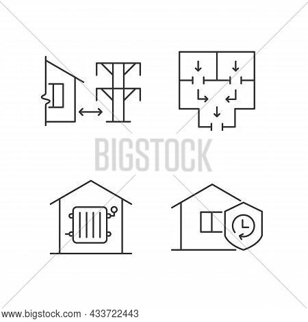 Home Building Regulation Linear Icons Set. Distance From Electric Lines. Fire Escape Route. Customiz