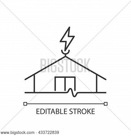 Lightning Rod Linear Icon. Protecting Buildings From Lightning Strike Damage. Prevent Fire Risk. Thi