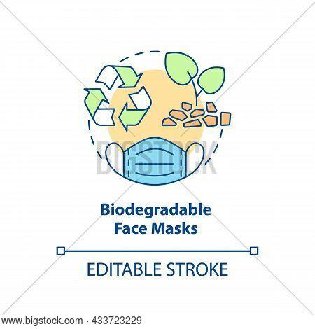 Biodegradable Face Masks Concept Icon. Ecogically Friendly, Compostable Disposable Face Masks Abstra