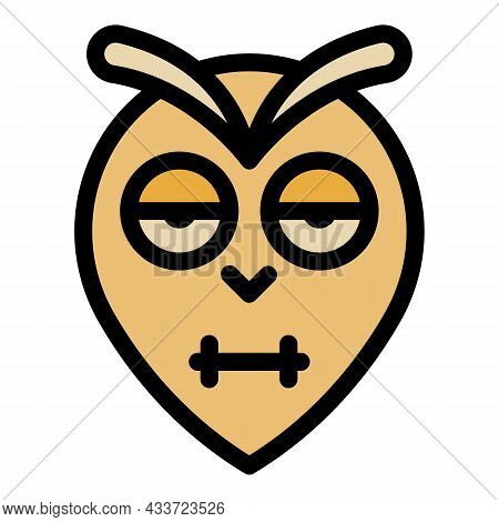 Blinking Owl Head Icon. Outline Blinking Owl Head Vector Icon Color Flat Isolated