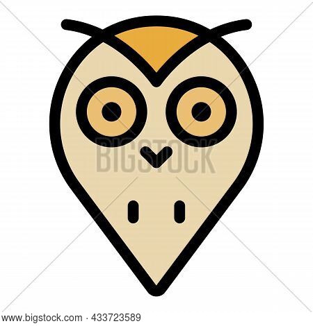 Owl Head Blob Icon. Outline Owl Head Blob Vector Icon Color Flat Isolated