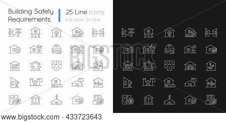 Building Safety Requirements Linear Icons Set For Dark And Light Mode. Standards For Buildings Desig