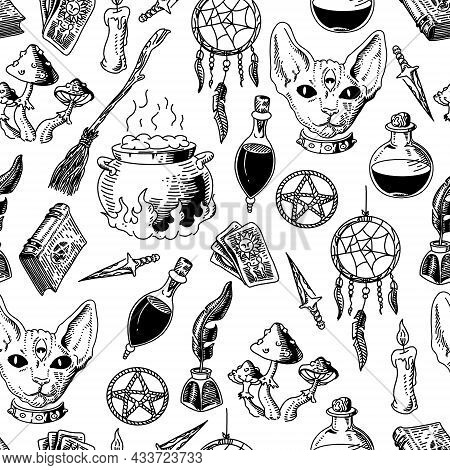 Seamless Pattern With Mystical And Mysterious Objects. Drawing In The Sketch Style. Vector Illustrat