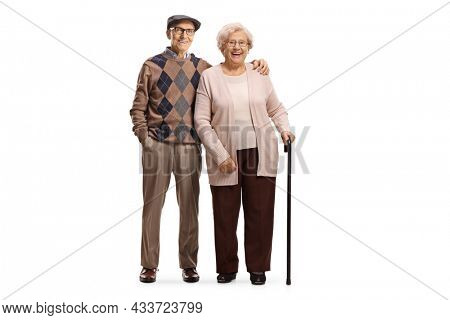 Senior man and a woman in embrace isolated on white background