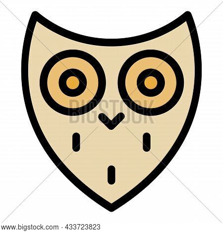 Stylized Owl Head Icon. Outline Stylized Owl Head Vector Icon Color Flat Isolated