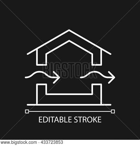 Ventilation System White Linear Icon For Dark Theme. Providing Natural Ventilation In Building. Thin