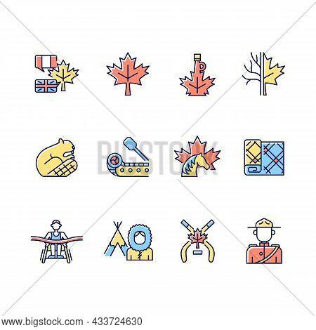 Canadian Symbols Rgb Color Icons Set. Official Canadian Emblem. Maple Tree. North American Beaver. I