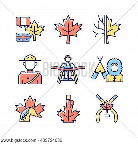 Canadian Representation Rgb Color Icons Set. Official Country Symbols. Significant Marks Of Canada.