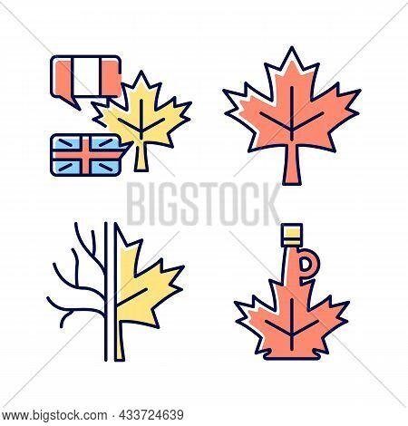 Maple Leaf Significance Rgb Color Icons Set. National Emblem Of Canada. Historic Maple Leaf Symbol.