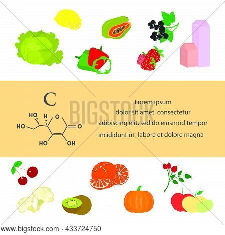 Vector Illustration Vitamin C Sources. Healthy Food Natural Antioxidant Enriched With Vitamins. Prop