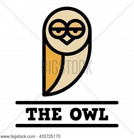 Cute Owl Icon. Outline Cute Owl Vector Icon Color Flat Isolated
