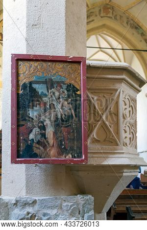 Sighisoara, Romania-september 3, 2021: Old Icon In The Church On The Hill,an Evangelical Church Buil