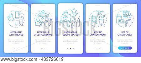 Consumerism Motivation Gradient Blue Onboarding Mobile App Page Screen. Purchasing Walkthrough 5 Ste