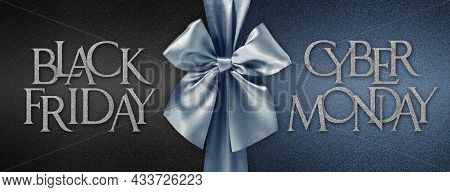 Black Friday Cyber Monday Gift Card With Shiny Blue Ribbon Bow Isolated On Glittering Black Backgrou
