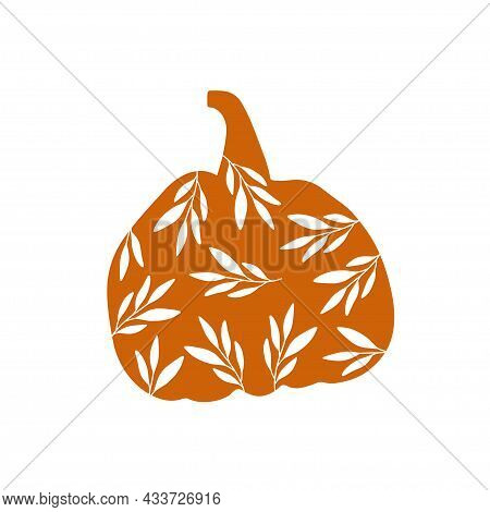 Thanksgiving Pumpkin With Leaves. Autumn Season Decoration. Floral Harvest Poster Design, Fall Conce