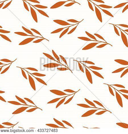 Autumn Flat Vector Seamless Pattern. Orange Leaf Shapes On White Background. Harvest Season Decorati
