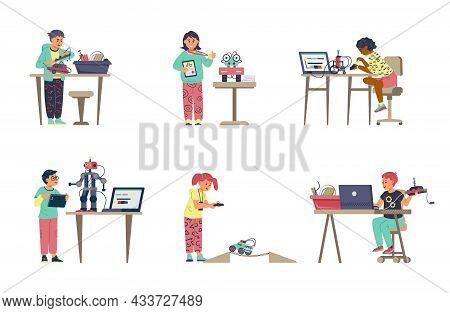 Kids Robotics Vector Set. Boys And Girls Programming And Engineering Robots. Taking Part In Robotic