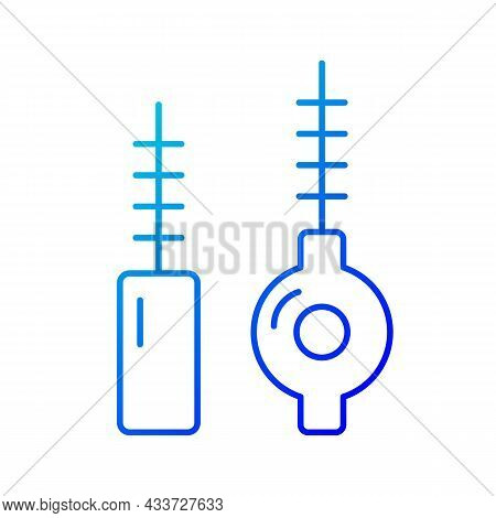 Interdental Brushes Gradient Linear Vector Icon. Cleaning Out Food Particles And Plaque. Keeping Gum