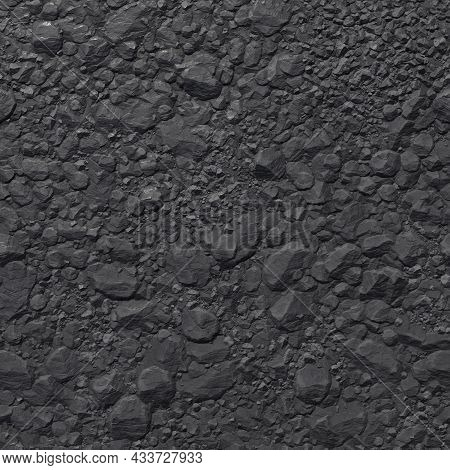 Coal Mineral Black Cube Stone Background. Coal Bunker. 3d-rendering.