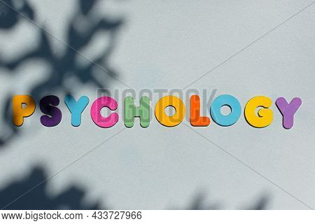 Psychology Word Multicolored Wooden Letters. Top View Of A Colorful Background With Natural Shadows