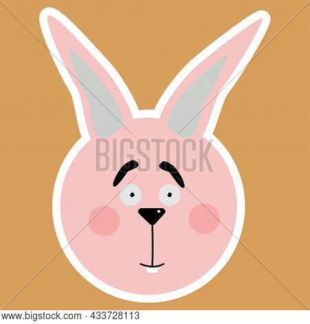 Hare. A Sticker With The Face Of A Hare. Emotional Animals. Cartoon Cute Animals For Children's Card