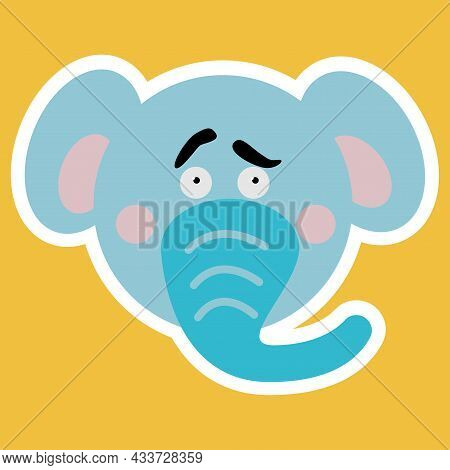 Emotional Animals. Cartoon Cute Animals For Children's Cards And Invitations. Vector Illustration. E