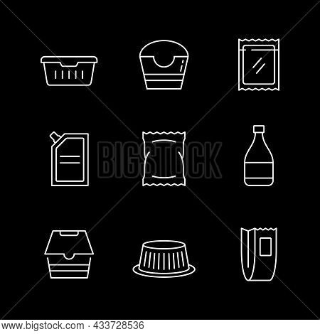 Set Line Icons Of Food Packaging Isolated On Black