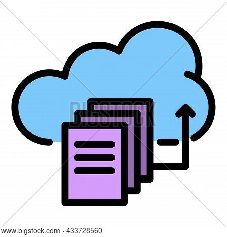 Upload Files To The Cloud Icon. Outline Upload Files To The Cloud Vector Icon Color Flat Isolated