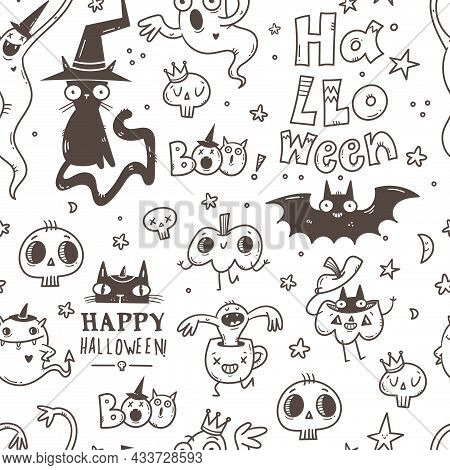 Halloween Doodle Seamless Pattern On White Background. Cartoon Horror Funny Characters. Wallpaper Wi